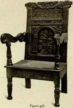 Carved Oak Wainscot Chair, About 1650.