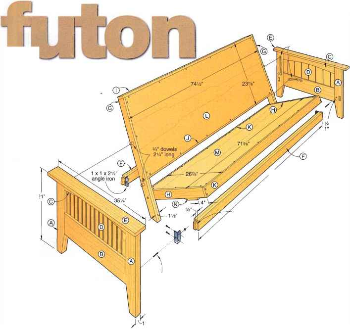 wood futon frame plans how to build furniture